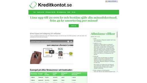 Kreditkontot skärmdump