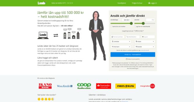 Lendo - Populär låneförmedlare i Sverige skärmdump