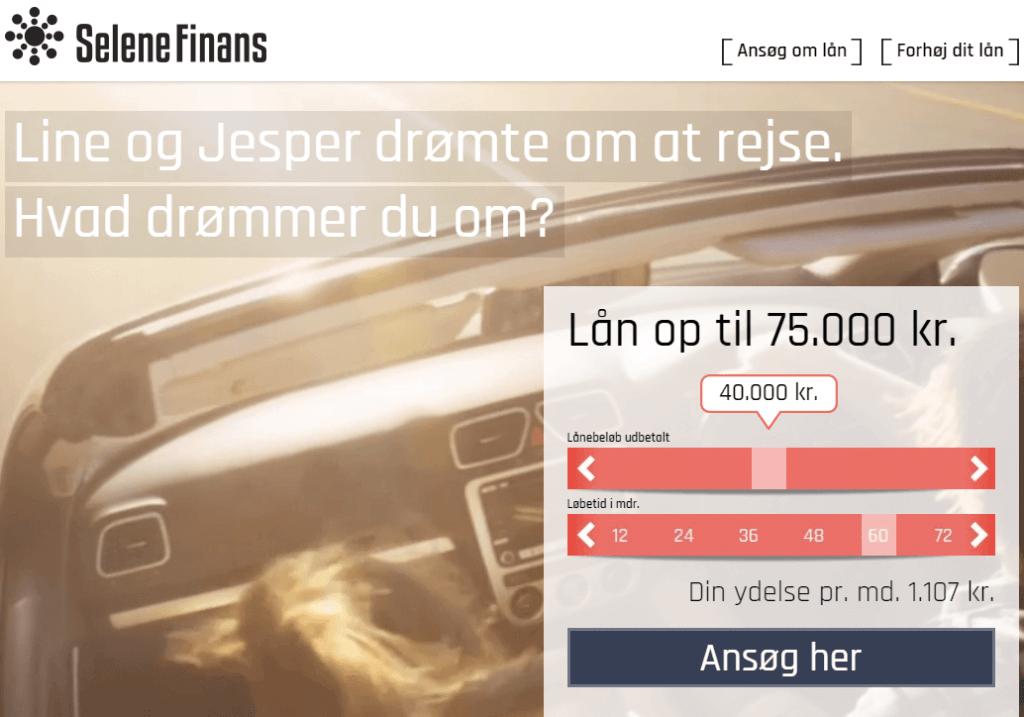 Selene Finans skärmdump