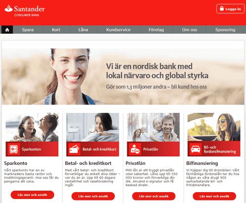Santander skärmdump