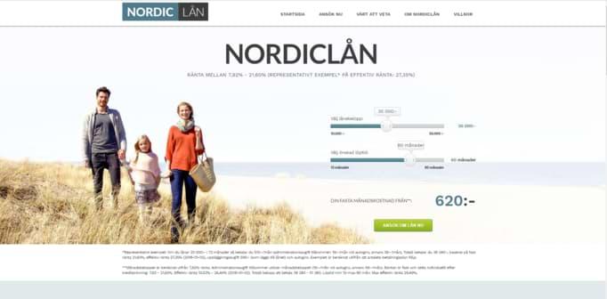 Nordiclån skärmdump