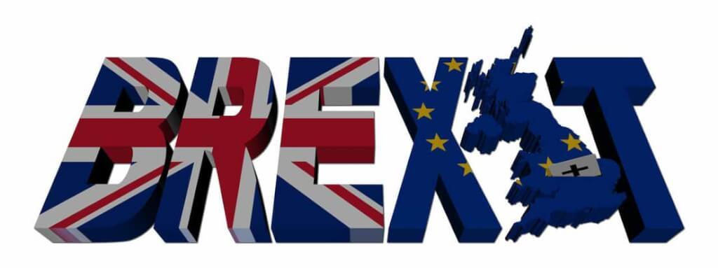 brexit text och flaggor