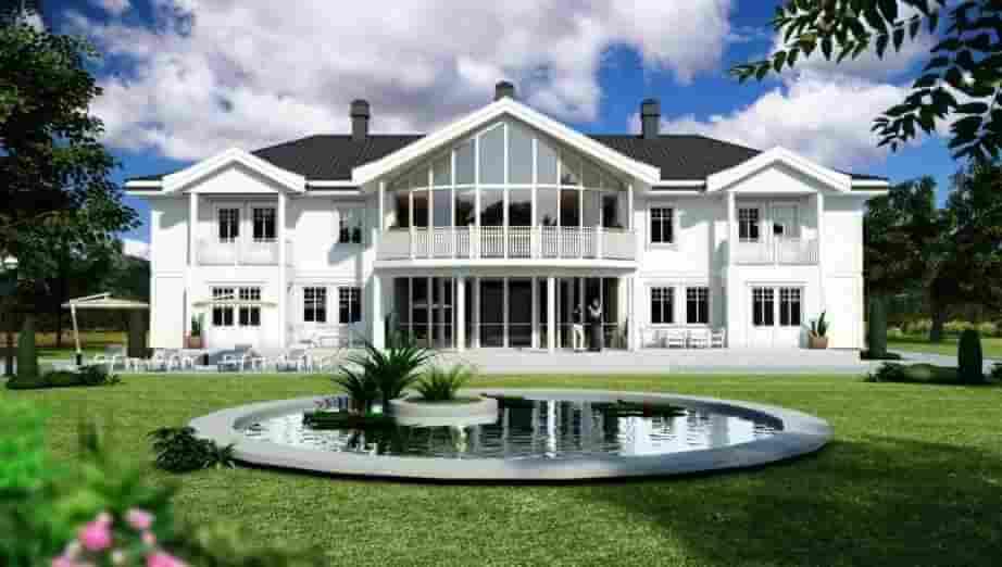 lyxig villa med fontän