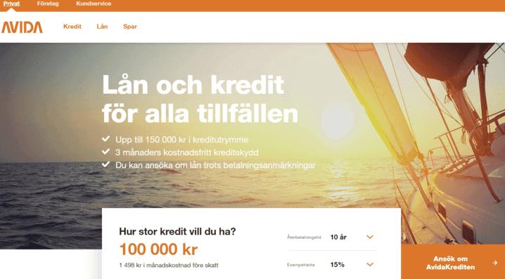 Avida Finans skärmdump
