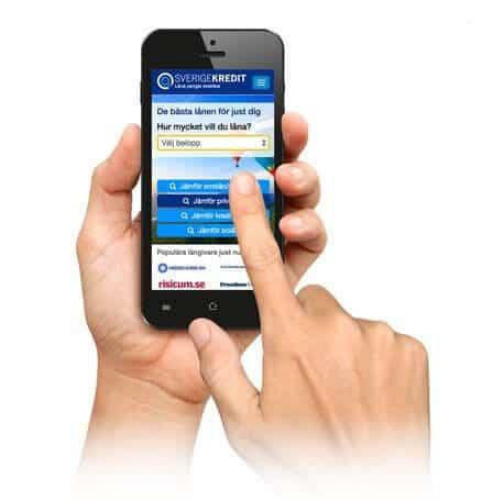 Jämför smslån i mobilen på Sverigekredit