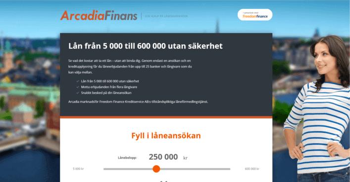 Arcadia Finans skärmdump