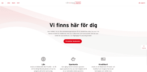 Lån & Spar Bank skärmdump