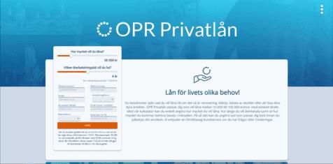 OPR Privatlånskärmdump