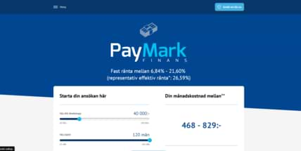 Paymark Finansskärmdump