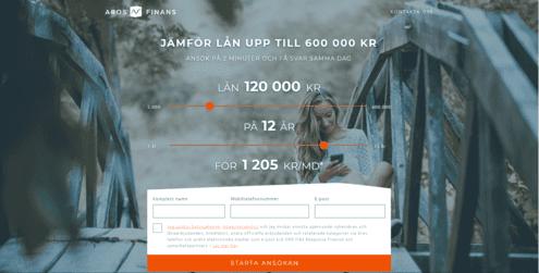 Aros Finans skärmdump