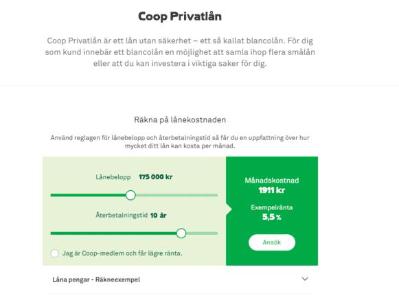 Coop Privatlånskärmdump