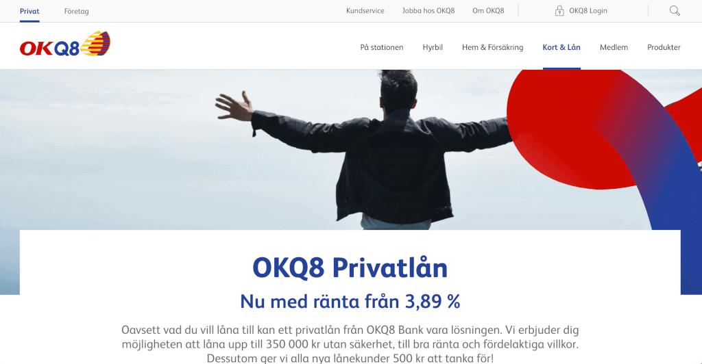 OKQ8 Bankskärmdump