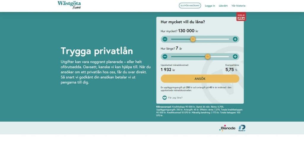 Wästgöta Finansskärmdump