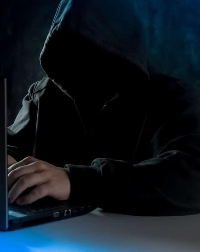 En maskerad person som sitter vid en dator.
